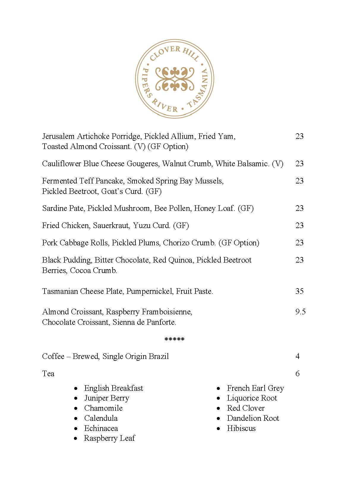 A sample of the Clover Hill cellar door menu. Our share plates are prepared from seasonal, local produce and are subject to change.