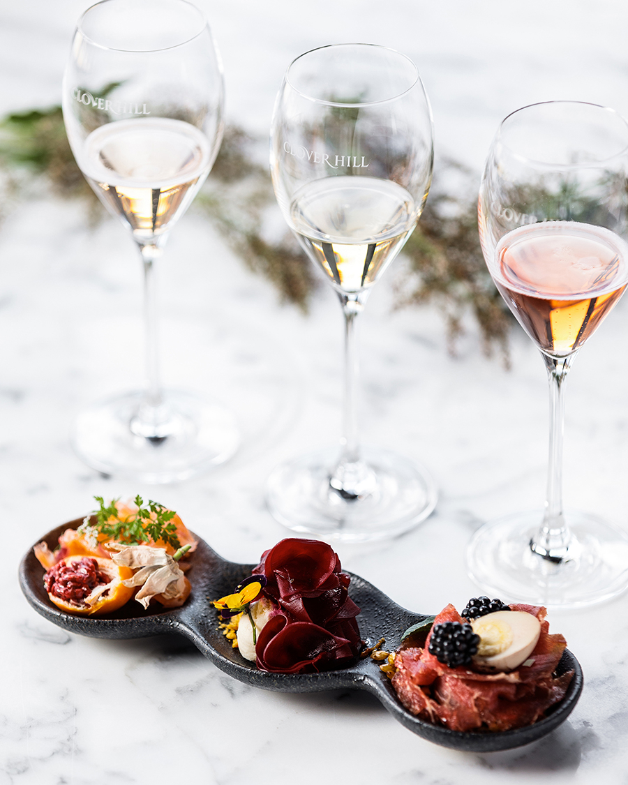 Experience a Wine and Food Flight at the Clover Hill Cellar Door.
